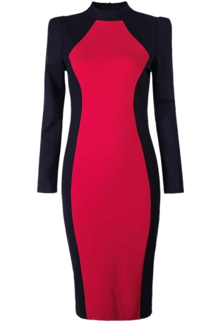Black Red Color Block Long Sleeve Dress Shein Sheinside