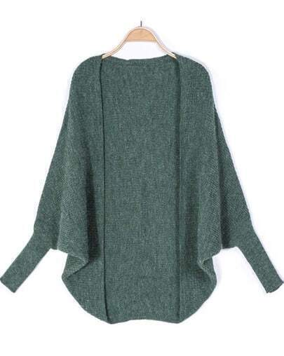 Green Long Sleeve Loose Knit Cardigan