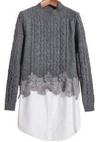 Grey Stand Collar Cable Knit Contrast Sweater