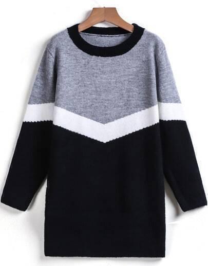 Grey Black Round Neck Loose Sweater