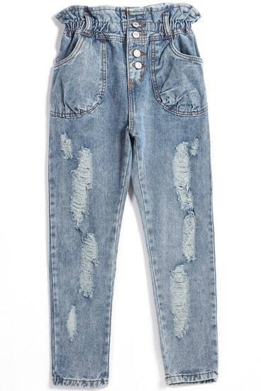 Blue Pockets Buttons Denim Pant