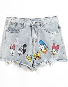 Blue Cartoon Print Fringe Denim Shorts