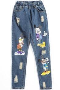 Blue Elastic Waist Mickey Print Denim Pant