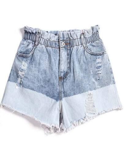 Blue Elastic Waist Ripped Denim Shorts