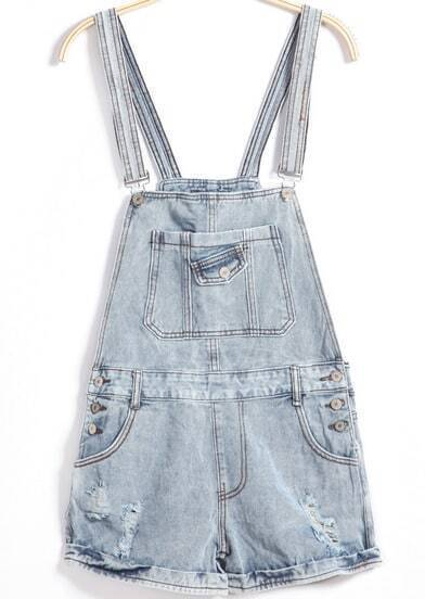 Blue Strap Ripped Buttons Denim Jumpsuit
