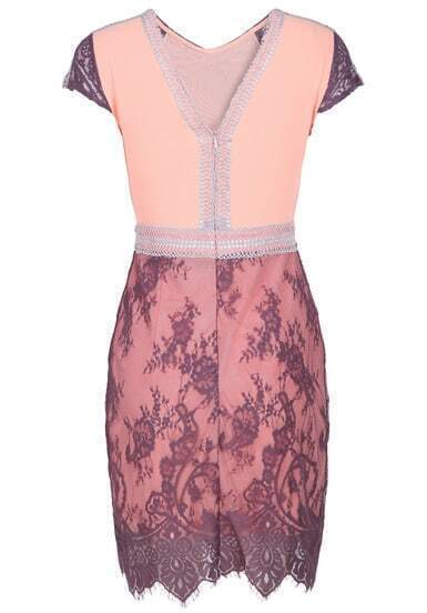 Pink V Neck Short Sleeve Zip Lace Embellished Dress