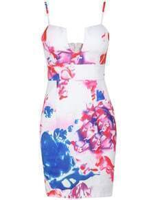 White Spaghetti Strap Floral Print Bodycon Dress