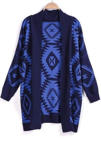Blue Long Sleeve Geometric Knit Cardigan