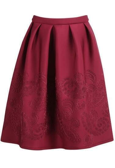 Wine Red Zip Floral Print Pleated Skirt