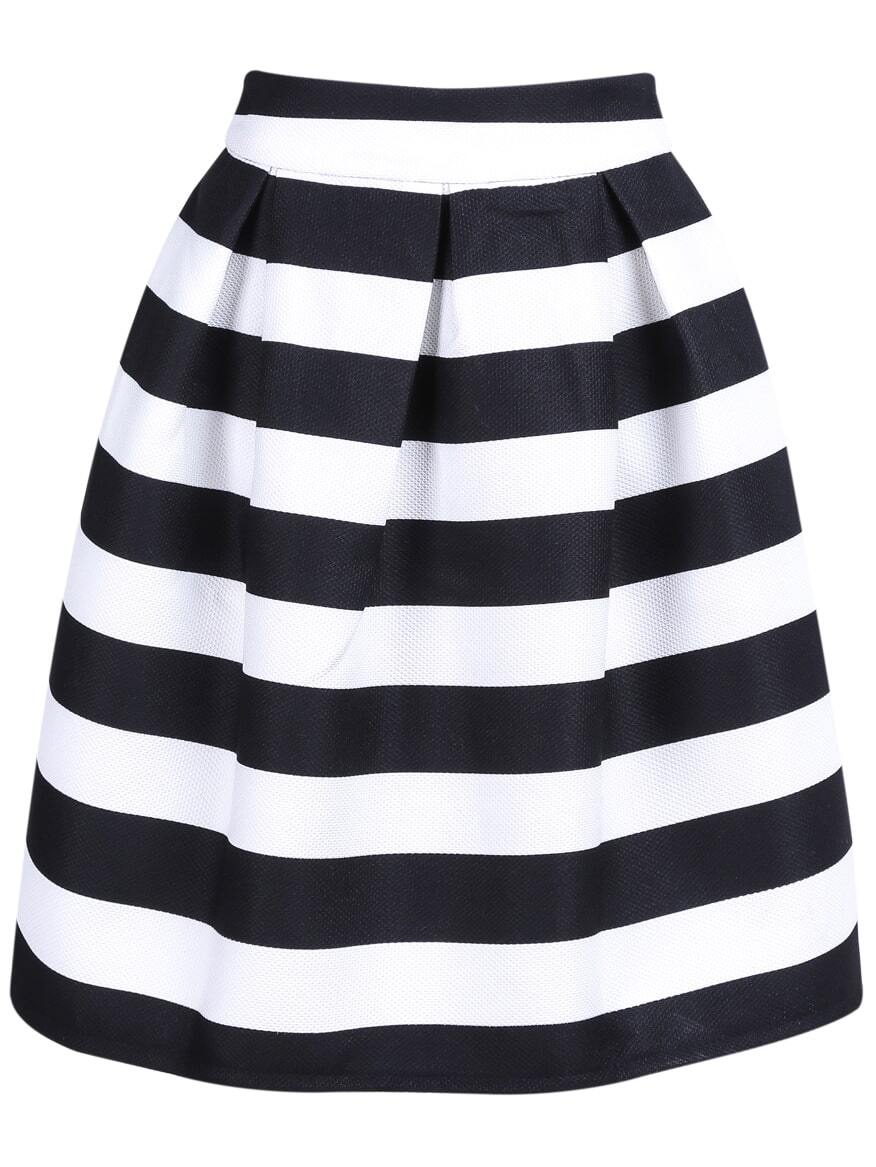 Black Striped Knee Length Skirt