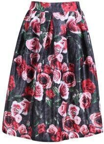 Red Elastic Waist Floral Print Skirt