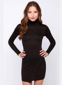 Black Long Sleeve Split Bodycon Dress