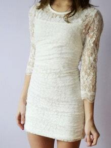 White Round Neck Slim Bodycon Lace Dress
