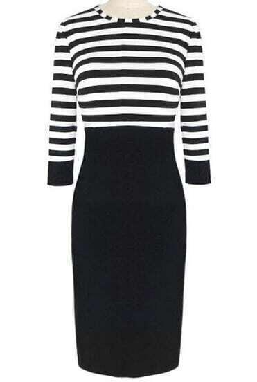 Black White Striped Pencil Dress