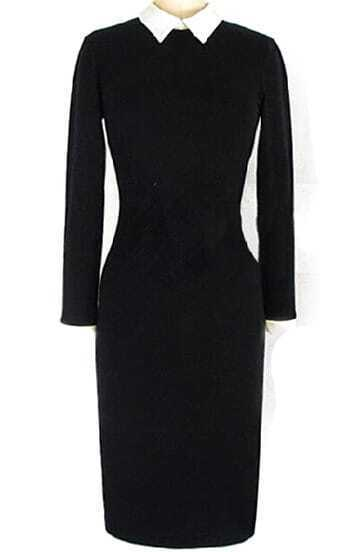 Black Contrast Lapel Slim Pencil Dress