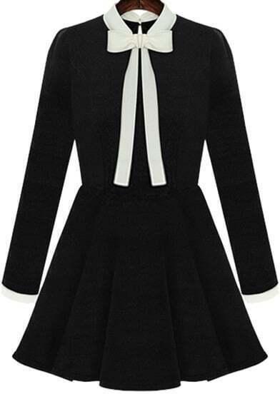 Black Collars Long Sleeve Bow Flouncing Dress