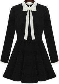 Black Collars Long Sleeve Bow Flouncing Dress