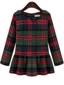 Green V Neck Checker Plaid Ruffle Woolen Top