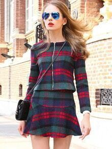 Green Long Sleeve Plaid Woolen Top With Skirt