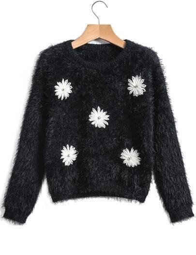 Black Long Sleeve Daisy Pattern Crop Sweater