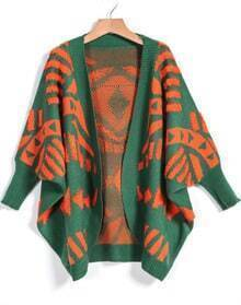 Green Print Long Sleeve Loose Cardigan