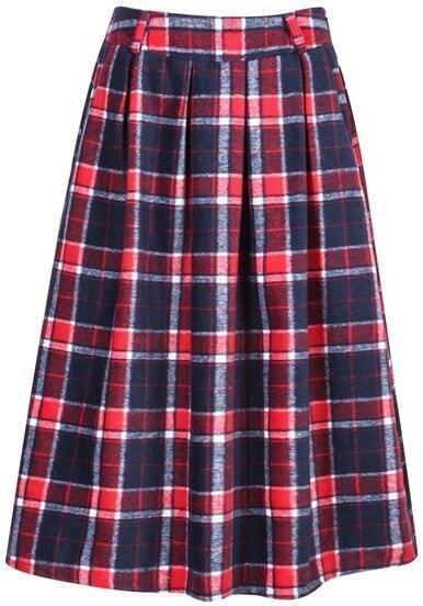 Red Plaid Pleated Woolen Skirt