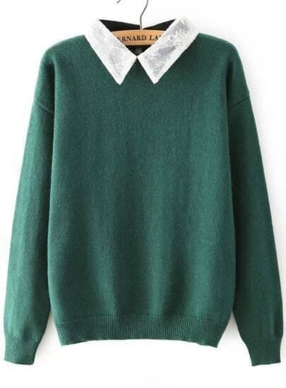 Green Lace Lapel Long Sleeve Knit Sweater