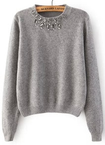 Grey Round Neck Long Sleeve Beaded Knit Sweater