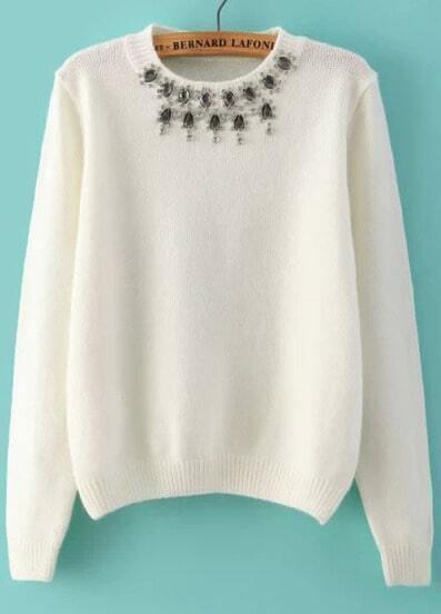 White Round Neck Long Sleeve Beaded Knit Sweater
