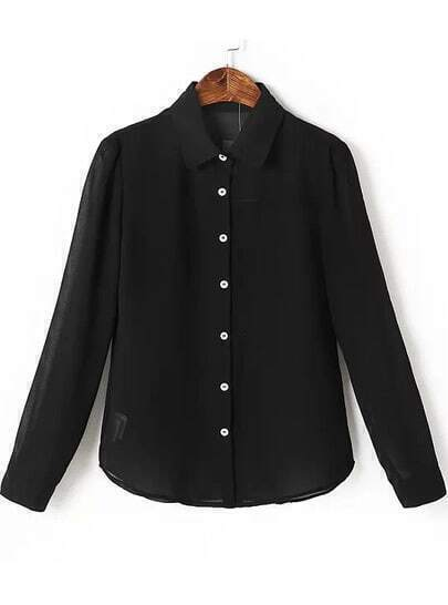 Black Lapel Long Sleeve Buttons Solid Blouse