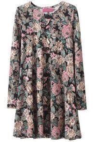 Black Round Neck Long Sleeve Floral Print A Line Dress