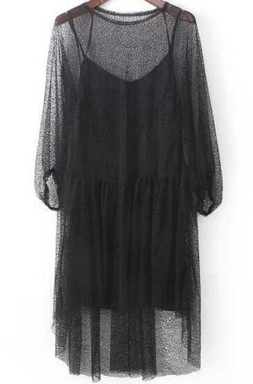 Black Round Neck Long Sleeve Lace Hollow Dress