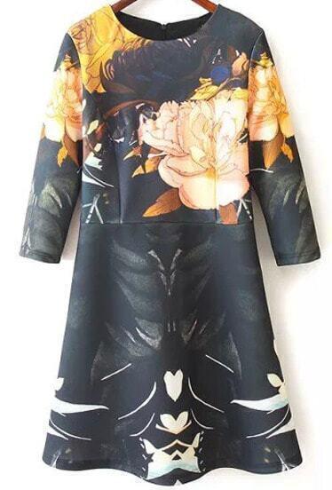 Black Long Sleeve Floral Print Dress