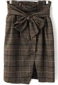 Khaki Bow Split Plaid Skirt