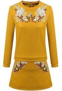 Yellow Round Neck Long Sleeve Embroidered Floral Top With Skirt