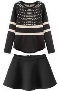 Black Round Neck Long Sleeve Hollow Top With Skirt