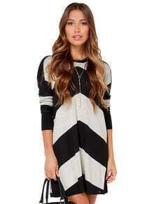 Grey Black Long Sleeve Geometric Sweater Dress