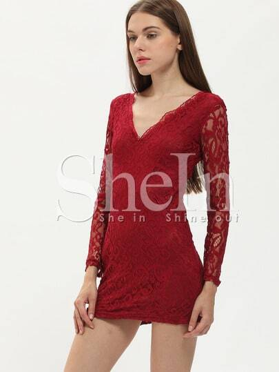 Wine Red V Neck Long Sleeve Lace Dress