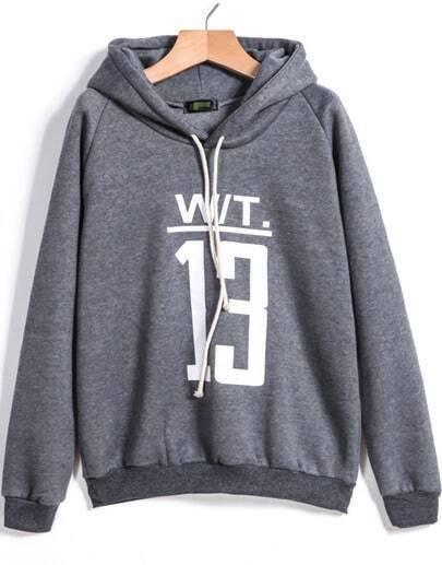 Grey Hooded Drawstring 13 Print Sweatshirt