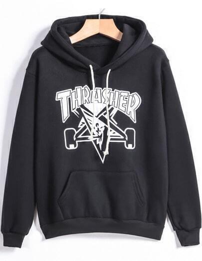 Black Hooded Drawstring Letter Print Sweatshirt
