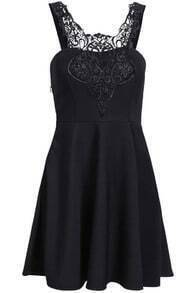 Black Spaghetti Strap Contrast Lace Pleated Dress