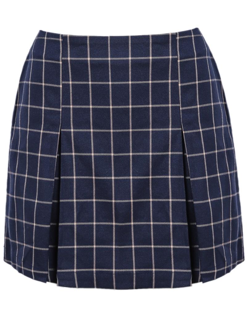navy plaid pleated skirt shein sheinside