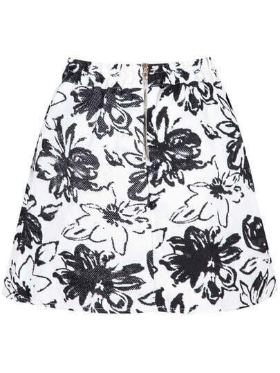White Zipper Floral Skirt