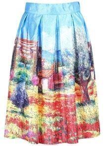 Multicolor Painting Print Midi Skirt