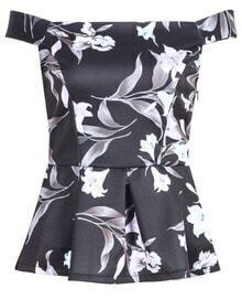 Black Off the Shoulder Print Flouncing Top