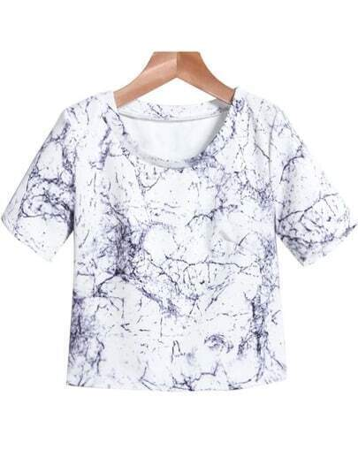 White Short Sleeve Crack Print Crop T-Shirt