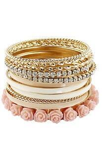 Pink Crystal Flowers Multilayer Bracelet