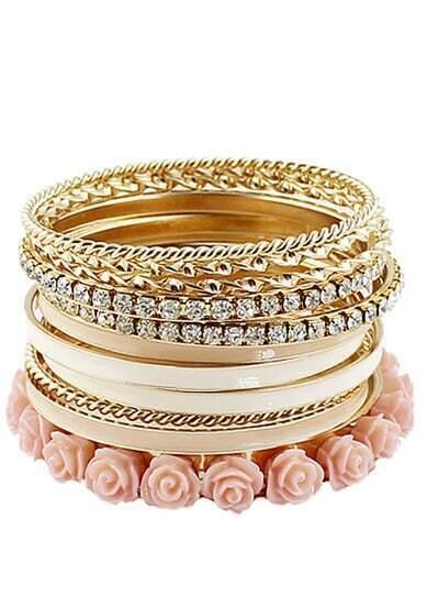 Pink Crystal Flowers Multilayer Bracelet