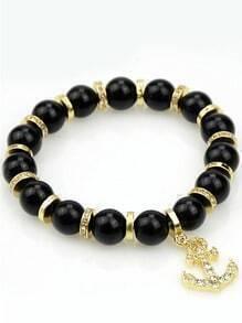 Black Bead Gold Anchors Bracelet