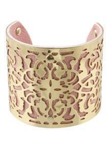 Gold Pink Hollow Cuff Bracele